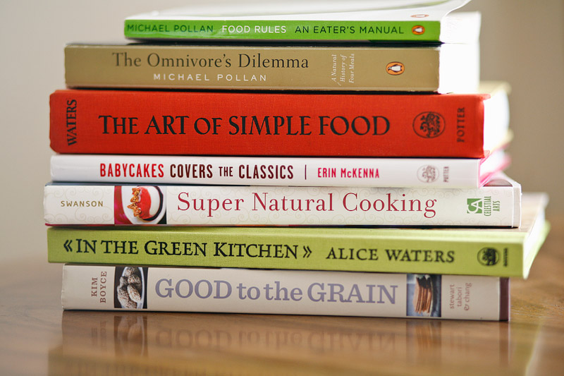 "Some of my favorite cook books and food related books like Michael Pollan's ""Food Rules"""